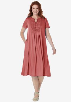 EMBROIDERED Lace BIB KNIT DRESS,
