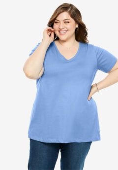 Perfect V-Neck Tee, FRENCH BLUE
