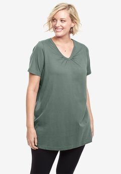 Perfect Shirred V-Neck Tunic, PINE