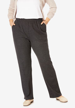 7-Day Knit Ribbed Straight Leg Pant, HEATHER CHARCOAL