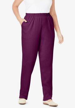 7-Day Knit Straight Leg Pant, DARK BERRY