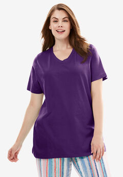 V-Neck Sleep Tee by Dreams & Co.®, RICH VIOLET