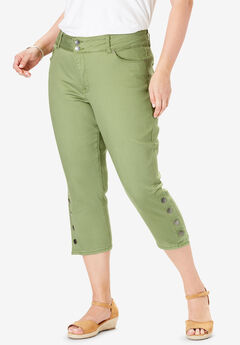 High-Rise Side Snap Cropped Skinny Jean by Chelsea Studio®, CALLISTE GREEN