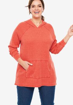 Washed Thermal Hooded Sweatshirt, SAHARA ORANGE