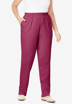 7-Day Knit Straight Leg Pant, DEEP CRANBERRY