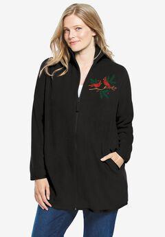 Zip-Front Microfleece Jacket, BLACK CARDINALS EMBROIDERY