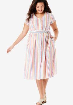 Short Sleeve Seersucker Button-Front Dress,