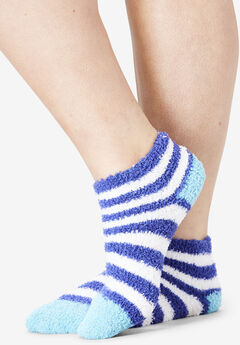 2-Pack Fuzzy Printed Ankle Socks by Comfort Choice®,