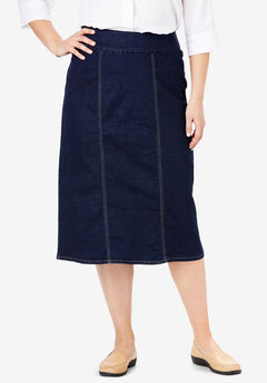 Smooth Waist A-Line Denim Skirt,