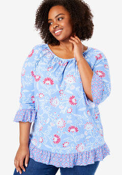 Shirred-Neck Flounced Hem Tee, FRENCH BLUE DRAWN FLORAL