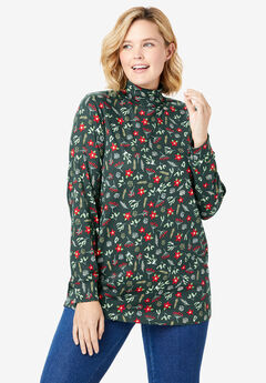 Printed Long Sleeve Turtleneck Perfect Tee, DEEP EMERALD HOLIDAY FLORAL