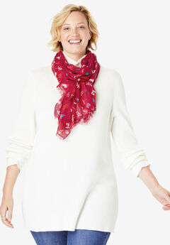 Lightweight Printed Scarf, CLASSIC RED HOLLY
