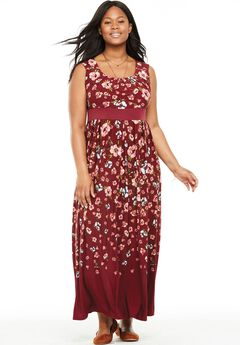 Banded Waist Polka Dot Maxi Dress,