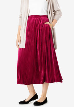 Crinkled Velour Panne Skirt,