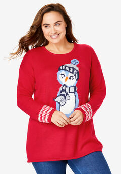 Holiday Pullover Sweater, VIVID RED PENGUIN