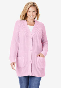 Button Front Shaker Cardigan,