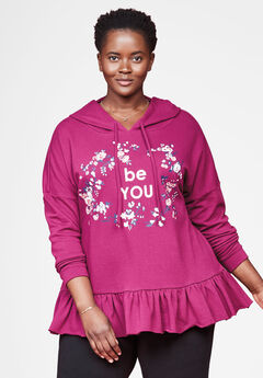 Ruffled Graphic Hoodie by Chelsea Studio®,
