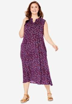 Sleeveless Pintuck Crinkle Dress, DARK BERRY LEAF CONFETTI