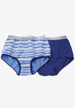 2-Pack Stretch Cotton Full-Cut Sports Brief by Comfort Choice®, BLUEBERRY IKAT STRIPE