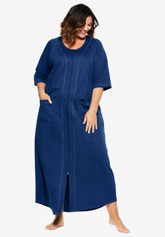 Long French Terry Zip-Front Robe by Dreams & Co.®, EVENING BLUE