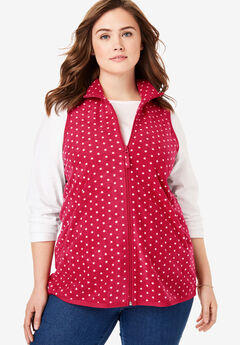 Zip-Front Microfleece Vest, CLASSIC RED DOT