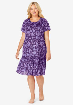 Cool Dreams Peplum Sleep Shirt by Dreams & Co.®, RICH VIOLET BLOOM