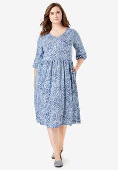 Empire Waist Dress, SOFT SKY ABSTRACT BRUSHSTROKES