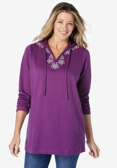 Embroidered Sweatshirt Tunic,