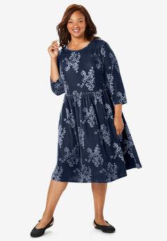 Floral Embossed Velour Tee Dress,