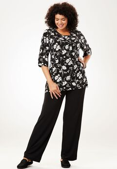 Graphic print knit top and pants set,