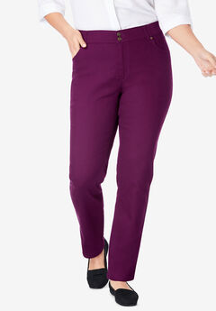Straight Leg Tummy Tamer Jean, DARK BERRY