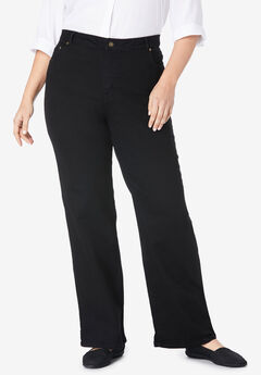 Wide Leg Stretch Jean, BLACK DENIM
