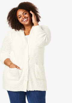 Textured Button Front Cardigan,