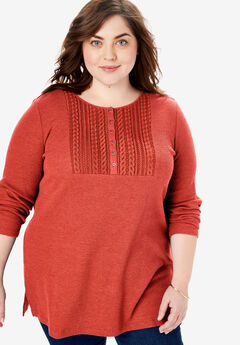 Lace Bib Washed Thermal Henley Tee,