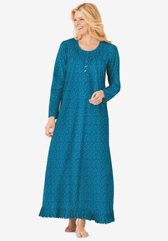 Long sleeve gown by Dreams & Co.®, DEEP TEAL DITSY