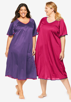 2-Pack Short Silky Gown by Only Necessities®, RICH VIOLET PINK BURST