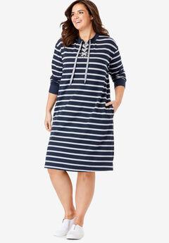 Lace-Up Front Fleece Dress,