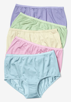 5-Pack Nylon Full-Cut Brief by Comfort Choice®, PASTEL PACK