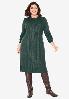 Cable Knit Sweater Dress, DEEP EMERALD
