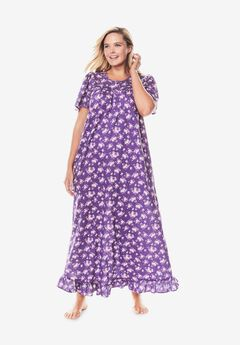Long Floral Print Cotton Gown by Dreams & Co.®, PLUM BURST BOUQUET