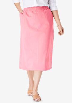 Elastic-Waist Chino Skirt, ROSE MAUVE