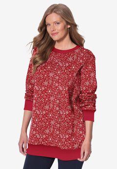 Fleece Sweatshirt, CLASSIC RED FUN PAISLEY