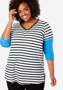 Longer Length Three-Quarter Sleeve V-Neck Tee,