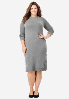 Side-Button Sweater Dress,