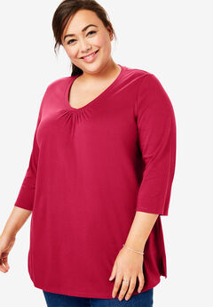 Perfect Shirred V-Neck Three-Quarter Sleeve Tee, CLASSIC RED
