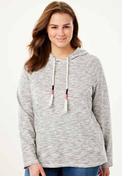 Marled Hoodie Sweatshirt with Tassels,