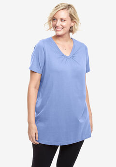Perfect Shirred V-Neck Tunic, FRENCH LILAC