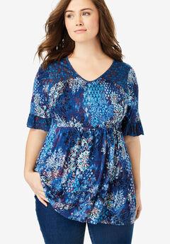 Printed Ruffle Sleeve Tunic by Chelsea Studio®,