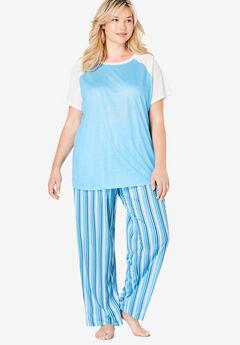 Cool Dreams Baseball Tee Pajama Set by Dreams & Co.®, WATERFALL BLUE STRIPE