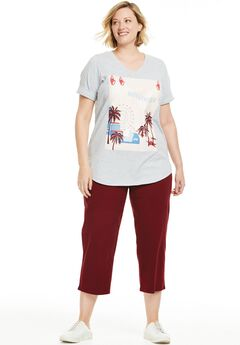 Travel Themed Knit Capri Pants Set,